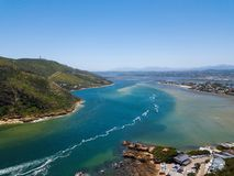 Aerial photo of Knysna in South Africa stock photography