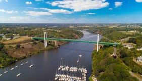 Aerial photo of La Roche Bernard bridge in the Morbihan, France. Aerial photo of La Roche Bernard suspension bridge and marina in the Morbihan, France Royalty Free Stock Photography