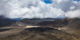 Aerial Photo of Lake Under Clouds Stock Image