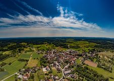 Aerial photo of the landscape of the franconian suisse near the village of Biberbach. Germany - Bavaria Royalty Free Stock Images