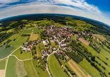 Aerial photo of the landscape of the franconian suisse near the village of Biberbach. Germany - Bavaria Royalty Free Stock Photos