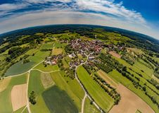 Aerial photo of the landscape of the franconian suisse near the village of Biberbach. Germany - Bavaria Royalty Free Stock Photography
