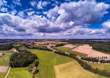 Aerial photo of the landscape near the city of Herzogenaurach in Bavaria in Germany. With cloudy sky Stock Photography