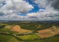 Aerial photo of the landscape near the city of Herzogenaurach in Bavaria in Germany. With cloudy sky Royalty Free Stock Image