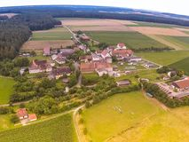 Aerial photo of the landscape near the small village of Hoefen in Bavaria in south Germany Stock Photo