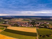 Aerial photo of the landscape near the small village of Hoefen in Bavaria in south Germany Royalty Free Stock Photography