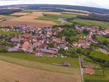 Aerial photo of the landscape near the small village of Hoefen in Bavaria in south Germany Stock Photos
