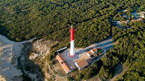 Aerial photo of lighthouse La Coubre stock photo