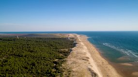 Aerial photo of lighthouse La Coubre in La Tremblade royalty free stock photography