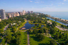 Aerial image Chicago Lincoln Park Zoo. Aerial photo of the Lincoln Park Zoo Chicago IL, USA Stock Photography