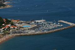 Aerial photo of a marina. Aerial photography of a marina in Oeiras Portugal royalty free stock photo