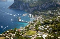 Aerial photo of Marina Grande on Capri island, Campania, Italy Stock Images