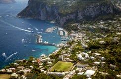 Aerial photo of Marina Grande on Capri island, Campania, Italy Royalty Free Stock Photography