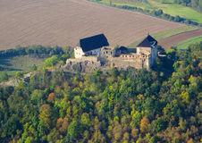 Aerial photo of medieval castle. Tocnik, Czech republic, European union royalty free stock photo