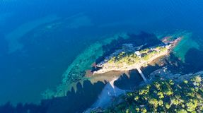 Aerial view of the mediterranean coast in Cadaques stock images