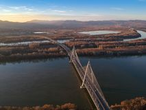 Aerial photo of Megyeri bridge in Budapest royalty free stock images
