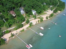 Aerial photo Michigan Lake Homes. Aerial photo - Summer lake homes on the south shore of crystal lake in Beulah Michigan in Benzie county royalty free stock photos