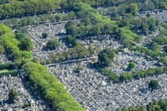 Aerial View of Graves at the Montparnasse Cemetery in Paris stock images