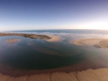 Aerial Photo of the Mouth of the Murray River. Aerial photograph of the River Murray Mouth in South Australia. Murray River Mouth flows out to the ocean with Stock Images