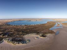 Aerial Photo of Mundoo Channel, Hindmarsh Island. Aerial photograph of Mundoo Channel and the River Murray Mouth in South Australia. Murray River Mouth flows out Royalty Free Stock Photography