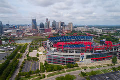 Aerial photo Nissan football stadium. NASHVILLE, TN, USA - SEPTEMBER 8, 2017: Aerial drone photo of the Nissan Football Stadium Stock Photo