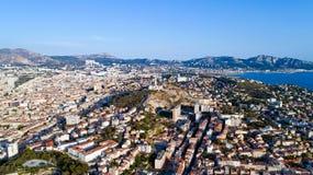 Aerial photo of Notre Dame de la Garde basilica Royalty Free Stock Image