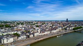 Aerial Photo Of Quai De La Fosse In Nantes City Center Royalty Free Stock Images