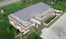 Aerial photo office building Royalty Free Stock Images
