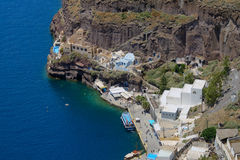 Aerial photo of old port in Santorini island Stock Photos