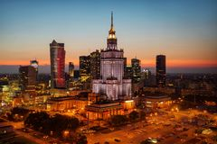 Aerial photo of the Palace of Culture and Science in Warsaw P stock images