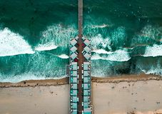 Aerial photo of a pier with houses. Aerial photo of a very long pier with houses and cars in San Diego California stock images