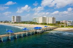 Aerial photo of Pompano Beach FL summer scene. Shot with drone stock image