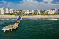 Aerial photo of the Pompano Beach and pier. Shot with drone 2019 royalty free stock photography