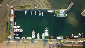 Aerial photo of port with boats docked.  royalty free stock photo