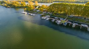 Aerial photo with port in Wiesbaden Germany royalty free stock image