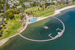 Aerial photo of a swimming enclosure at Geelong, Australia. Aerial photo of a public swimming enclosure at Geelong, Australia stock images