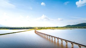 Aerial Photo Railway Curve Track to the mountains is located on. The River Pasak River Dam,Lopburi Thailand Stock Image