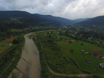 Aerial photo of river Prut Royalty Free Stock Photo