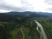Aerial photo of river Prut Royalty Free Stock Image