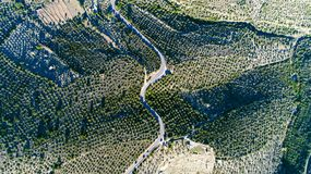Aerial photo of a road in the Pyrenees mountains. Aerial photo of a road in the mountains, Spain Royalty Free Stock Photography