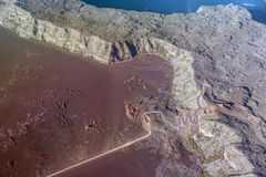 Aerial photo of Road in volcanic landscape of Plaine des Sables, Reunion Island. National Park Stock Images
