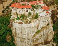 Aerial photo of the rock formations and monasteries of Meteora, Royalty Free Stock Photography