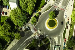 Aerial photo of a roundabout with grass  in the Stock Photo