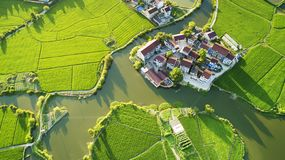 Aerial photo of rural summer pastoral scenery in langxi county, xuancheng city, anhui province,  China