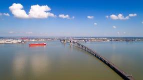 Aerial photo of Saint Nazaire bridge Stock Photography