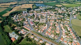 Aerial photo of Saint Viaud village in Loire Atlantique royalty free stock images