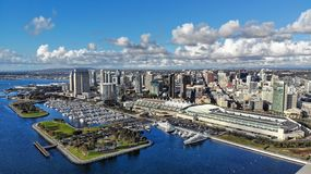Aerial photo of the San Diego waterfront on an overcast day. San Diego skyline by the convention center towards the marina and Seaport Village stock photo