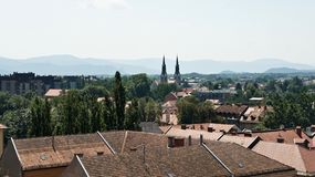 Aerial photo, Scenic view of old town, sunny day, Ljubljana, Slovenia royalty free stock photo