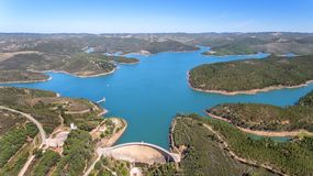 Aerial. Photo from sky, dams filled with water Odiaxere. Bravura Portimao. Portugal Royalty Free Stock Photography