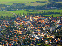 Aerial photo of small city. Aerial photo of city in sunset light. Dobrany, Czech republic, European union Stock Photo